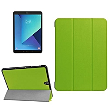 for samsung galaxy tab s3 9.7 inch t820 / t825 custer texture horizontal flip leather case with 3-folding holder(green)