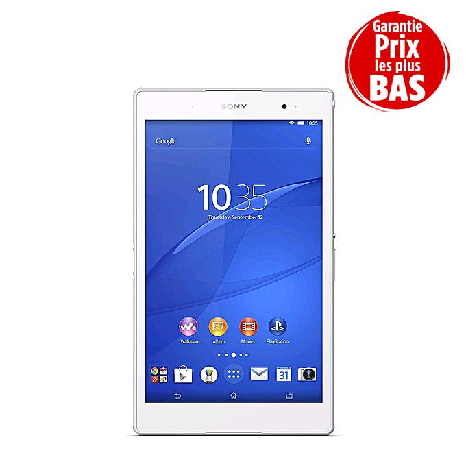 sony tablette xperia z3 8 pouces full hd 8 1 m gapixels android 16 go ram 3 go blanc. Black Bedroom Furniture Sets. Home Design Ideas