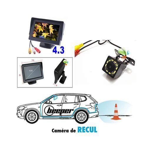 Caméra De Recule HD Universel Avec Ecran Et Caméra Etanche (respecte La Norme IP68) Pour Toutess Les Marques De Voitures - Noir
