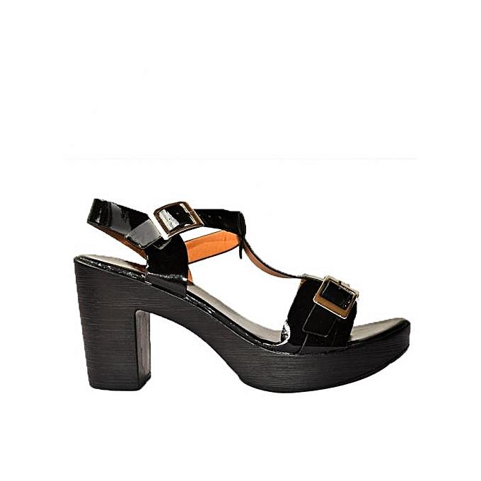 À Sandales Noir Fashion Gros Vernis Prix Compensées Pas Vzmgpsuq Talon wn0mN8