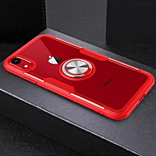 magnetic 360 degree rotation ring holder armor protective case for iphone xr (red)