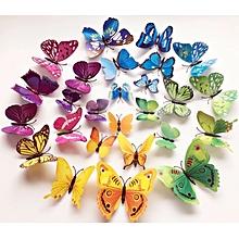 lot de 24 autocollants papillons magnétiques - multicolore