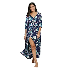 Style Plunging Neck Button Design Allover Print Dress For Ladies