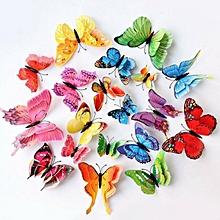lot de 12 papillons magnétiques 3d colorés autocollants mural aimant