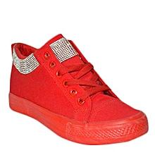 baskets montante à paillettes - rouge