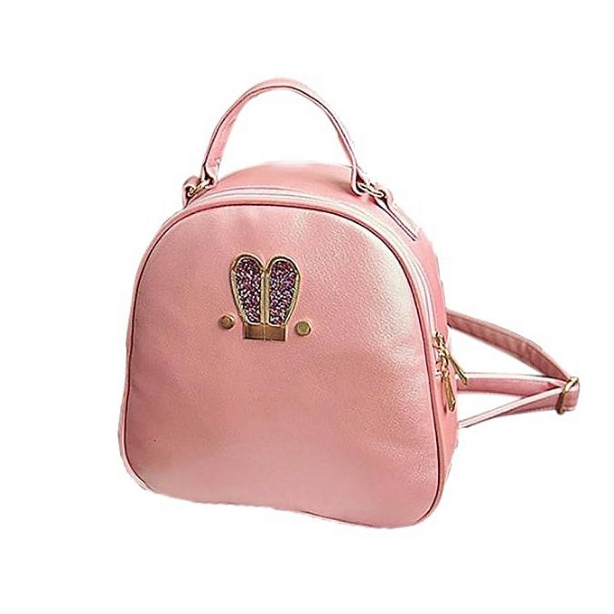 NeworldlineWomen Fashion Rabbit Ears Travel Satchel Shoulder Bag Backpack PK- PinkSacs à Dos    Côte d'Ivoire