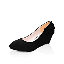 round toe flock wedges pumps fashion butterfly-knot med heels shallow casual shoes for lady (black)