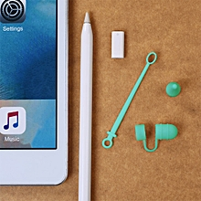 for apple pencil / ipad pro 3 in 1 anti-lost (pencil cap + pencil point + adapter) touchpen silicone protective set(green)
