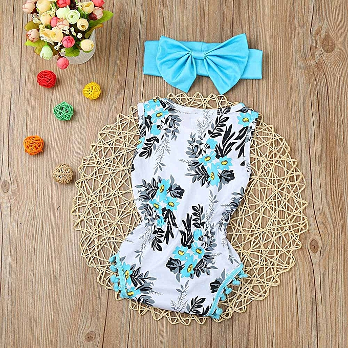 Generic Fashion Newborn Toddler Kid Baby Girl Print Romper Jumpsuit