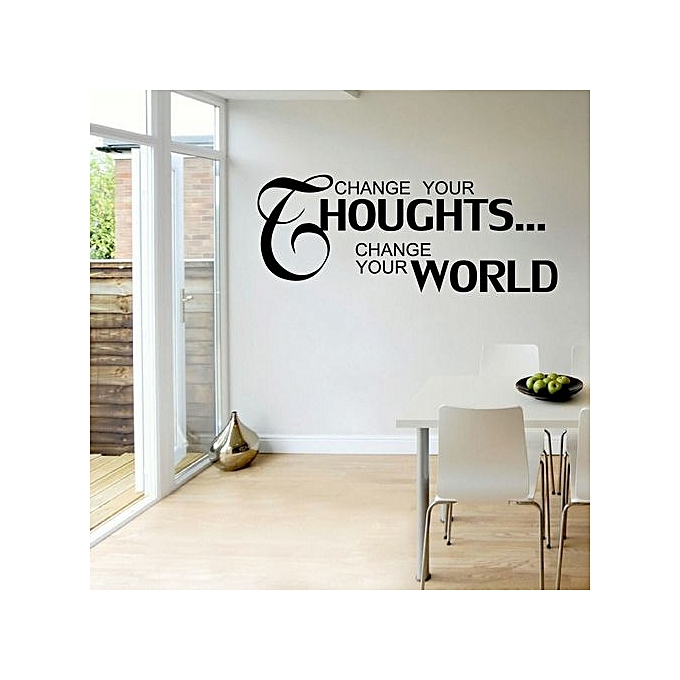 Change your thoughts change your word wall sticker black for Changer d interieur