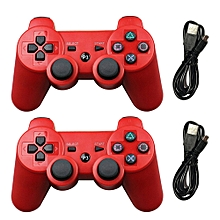 2pcs wireless bluetooth game controller joystick gamepad with usb cable for ps3 fcshop