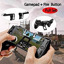 pubg controller mobile phone gaming joystick handle w/ bracket holder + shooter ht