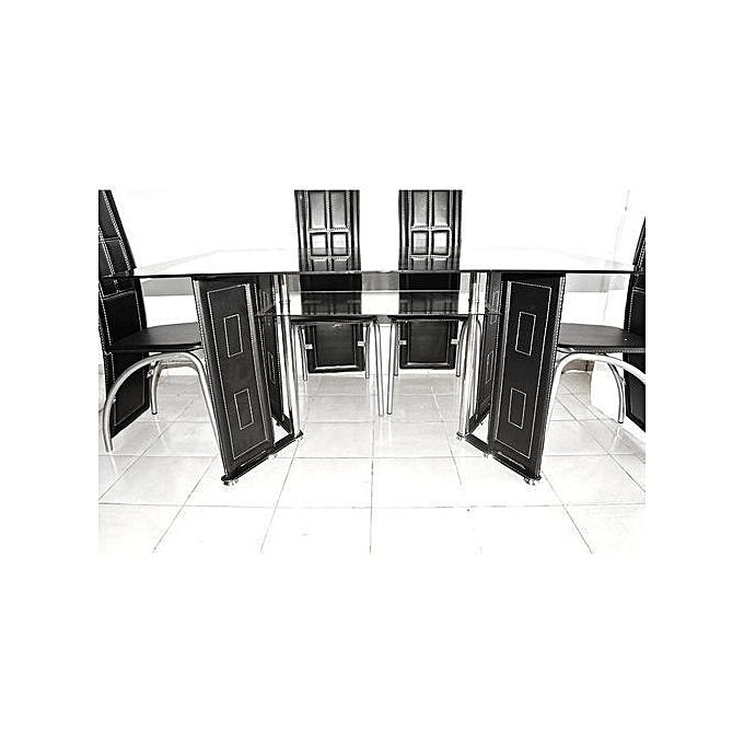 Generic Table à Manger 6 Places En Verre Noir Et Simili Cuir - Noir ...