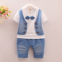 toddler kids baby boys outfits short sleeve t-shirt+pants gentleman clothes set- white