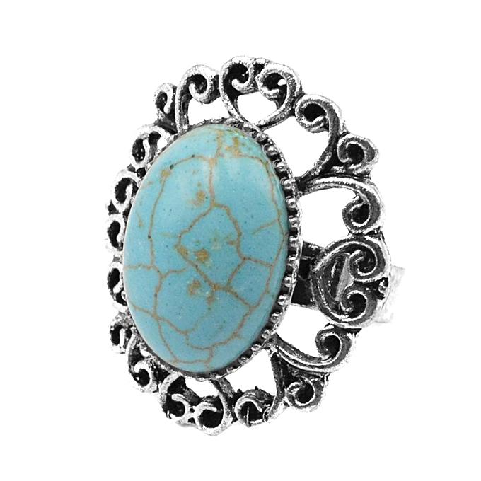 Generic Oyang Vintage Statement Turquoise Stone Cocktail Ring Silver Plated Jewelry Adjustable au Côte d'Ivoire à prix pas cher  |  Côte d'Ivoire
