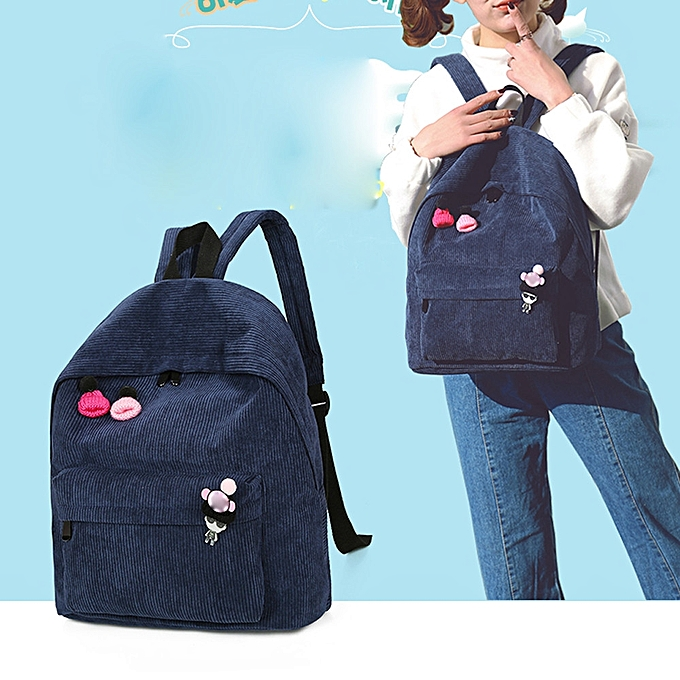 DuoyaWomen Corduroy Backpack Girl School Fashion Shoulder Bag Rucksack Travel Bags BU-As ShownSacs de Voyage    Côte d'Ivoire