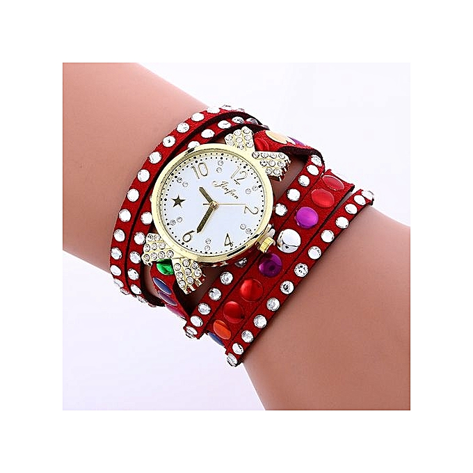 FULAIDA Africashop Watch Fulaida-Fashion Colored Diamonds Leather Bracelet Weaving Lady Womans Wrist Watch RD-Red au Côte d'Ivoire à prix pas cher  | Promotion  Anniversaire