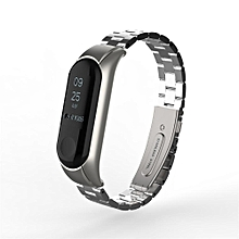"for xiaomi mi band 3 fashion stainless steel luxury wrist strap metal wristband carmanshop (silver"",""freesize) mqshop"