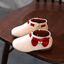 toddler bébé girls enfants fashion bowknot sneaker bottes zipper casual chaussures- beige