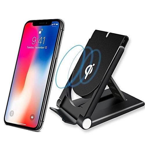 qi chargeur sans fil compatible iphone x 8 plus samsung s8 plus s7 s6 noir prix pas. Black Bedroom Furniture Sets. Home Design Ideas