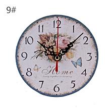 réveil rétro créative salon chambre ronde horloge murale petite horloge 9#
