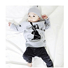 1set toddler baby girl boy cartoon print t-shirt tops+pants outfits clothes- gray