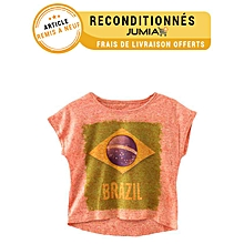 spécial coupe du monde 2014, t-shirt manches courtes imprimé - corail - article sale