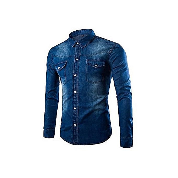 Manche Homme Bleu Longue Chemise Jeans 5tqw7xX