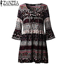 6692fd6b7c7 ZANZEA Women Vintage Floral Print Mini Dress Ladies V Neck Lace Up 3 4  Sleeve
