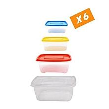 pack de 24 boites pour congelateur/frigo (boites 3l / 1,75l / 1l / 0,5l) - multicolore