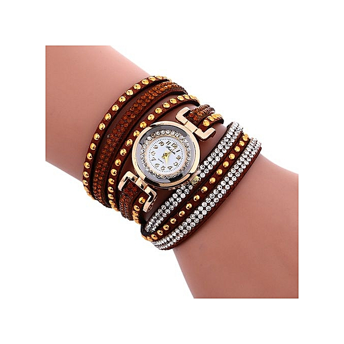 FULAIDA Africashop Watch Fulaida-Fashion Chimes Diamond Leather Bracelet Lady Womans Wrist Watch-Brown au Côte d'Ivoire à prix pas cher  |  Côte d'Ivoire
