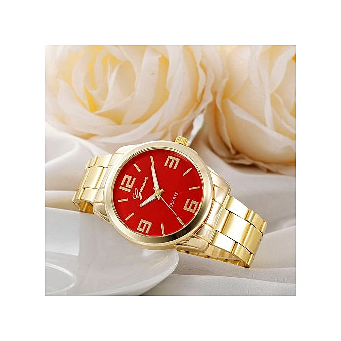 Geneva Geneva Women's  Wrist Watch  Fashion Women Men Simple Stainless Steel Analog Quartz Wrist Watch@Red au Côte d'Ivoire à prix pas cher  | Promotion  Anniversaire