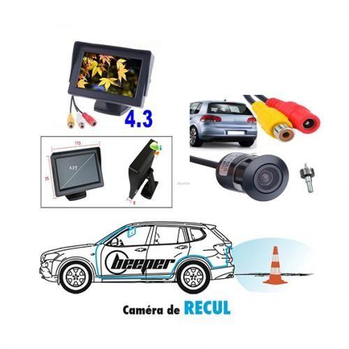 Caméra De Recul HD Universel Avec Ecran Et Caméra Ronde étanche (respecte La Norme IP68) Pour Toutes Les Marques De Voitures - Noir