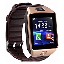 "dz09 smartwatch new version 2.0 - phone/camera/bluetooth/mmc/sim card/mp3 (fast delivery) (gold"",""freesize) mqshop"
