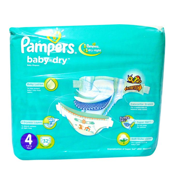 pampers couches b b baby dry taille 4 7 18 kg pack. Black Bedroom Furniture Sets. Home Design Ideas