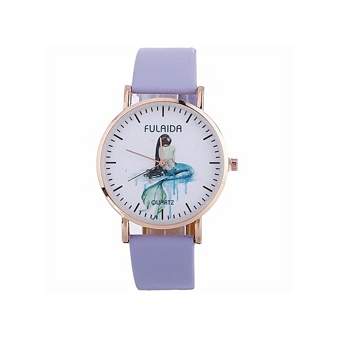 FULAIDA Africashop Watch Fulaida- Women Creative Pattern Quartz Watch Leather Strap Belt Table Watch PP-Purple au Côte d'Ivoire à prix pas cher  |  Côte d'Ivoire