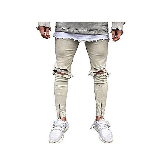 fashion pantalon jean trou stretch pour homme beige acheter en ligne jumia c te d 39 ivoire. Black Bedroom Furniture Sets. Home Design Ideas