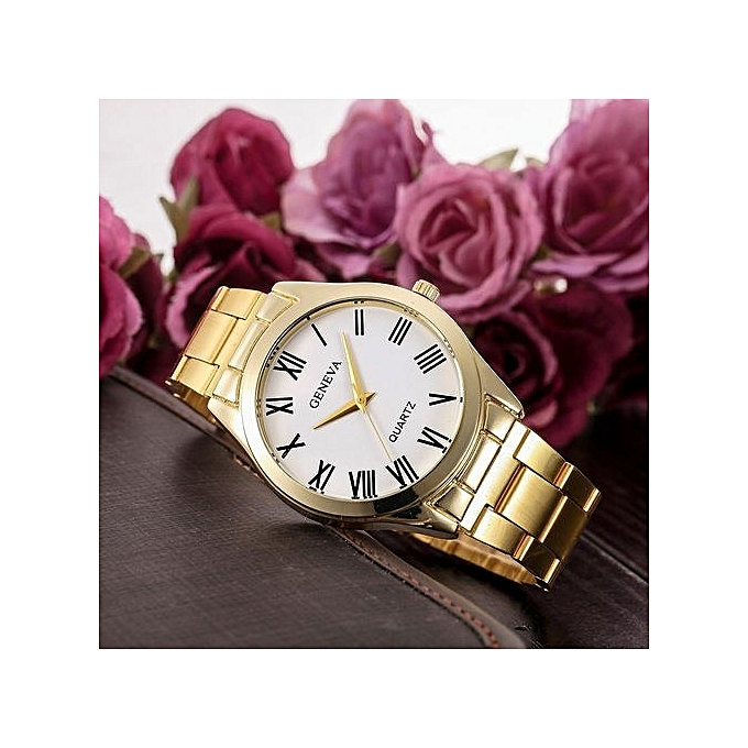 Geneva Geneva Women's  Wrist Watch  Fashion Women Men Simple Stainless Steel Analog Quartz Wrist Watch@Gold au Côte d'Ivoire à prix pas cher  |  Côte d'Ivoire
