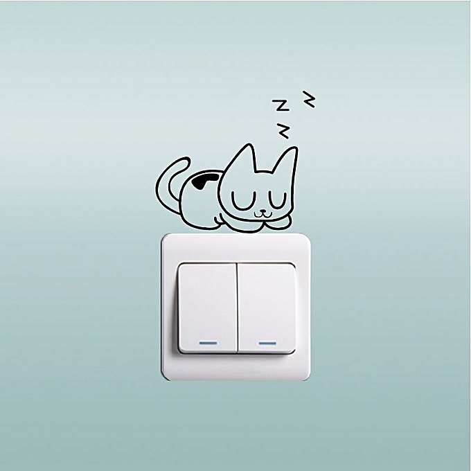 Autocollant de chat de couchage autocollant funny cartoon for Arrivee chaton a la maison