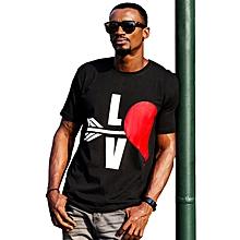 T-shirts Mixte Manches Courtes Noir Imprimés Graphiques Cœur - Noir 99c32ab532b