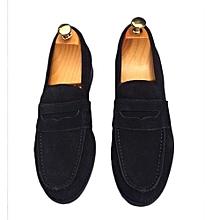 Chaussures Hommes En Mocassins Avec Detail Moustache EN Daim - Noir 3eaa94f9c478