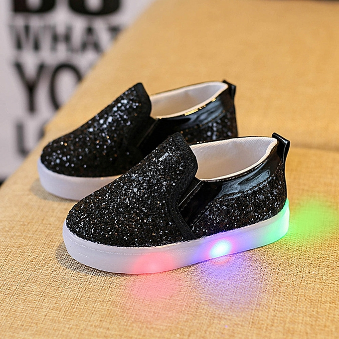 e6649ddfa6f17 Bébé Fashion Sneakers LED Luminous Child Toddler Casual Colorful Light  Chaussures - Black