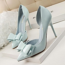 fashion bow shallow mouth pointed side hollow high heeled shoes-sky blue