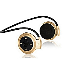 mini 503 wireless bluetooth headset fashion sport music headphone studio with microphone sd card slot mp3 player for all phones iphone/samsung (gold) xyx-k