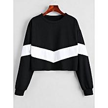 79e2fa6ff3477 Femmes Sweatshirt Court Contrastant Doux - Blanc + Noir