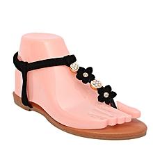 sandales plates détail fleur + perle - noir