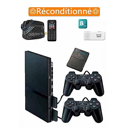 sony computer entertainment playstation 2 slim 2 manettes noir plus de 10 jeux incorpor s. Black Bedroom Furniture Sets. Home Design Ideas