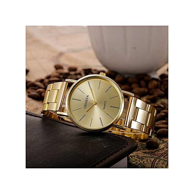 Geneva Geneva Women's  Wrist Watch  Fashion Women Men Simple Stainless Steel Analog Quartz Wrist Watch@Gold au Côte d'Ivoire à prix pas cher  | Promotion  Anniversaire