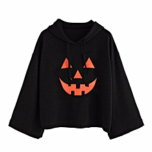 women loose plus print halloween long sleeve hood hoodies t-shirt tops blouse s-black