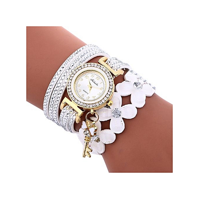 Generic Tcetoctre Fashion Chimes Diamond Leather Bracelet Lady Womans Wrist Watch-White au Côte d'Ivoire à prix pas cher  |  Côte d'Ivoire